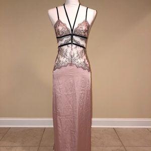 Victoria's Secret S Nightgown Pink Black Lace Slip